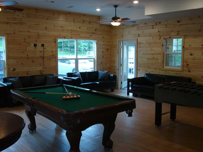 The 550 sq ft Gathering-Game Room has a 10 foot high ceiling and seating for 19.