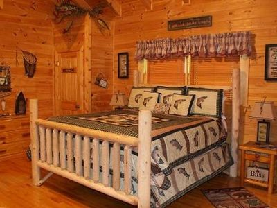 "King Log Bed with 20"" Double Pillow Top Mattress"