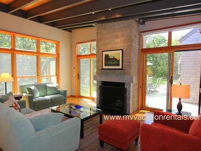 West Tisbury house rental - Living Area Opens to Patio