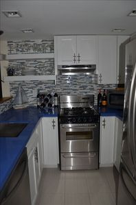Kitchen is compact but has it all and BRAND NEW