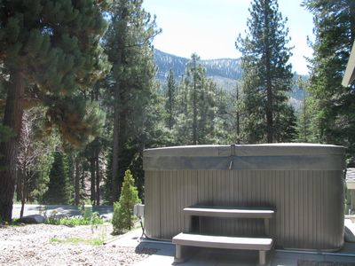 Another view of the hot tub. Enjoy great views by day or starry night skies!