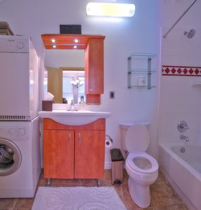 Bathroom plus washer and dryer.