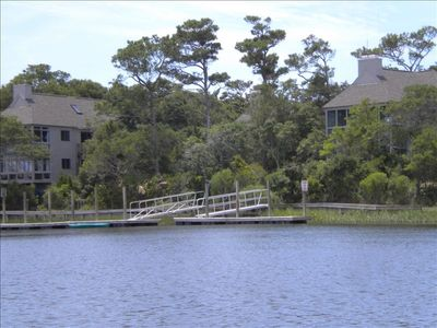 Community boating dock, with swimming pool steps away