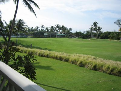 Waikoloa Beach Resort condo rental - View towards Kings Shops and Kings Lake from the Lanai