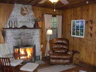 Highlands cabin photo - Family Room has Stone Fireplace with Automatic Starter & Comfortable Recliner.