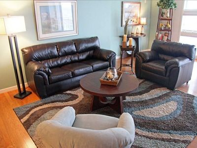 All New Living Room Furniture,  Relax in the oversized leather sofa and chair