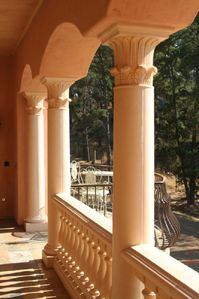 """Romeo and Juliet"" loggia off breakfast nook - has outdoor fireplace"