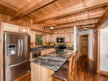 Maggie Valley house rental - Kitchen with all new appliances & granite countertops