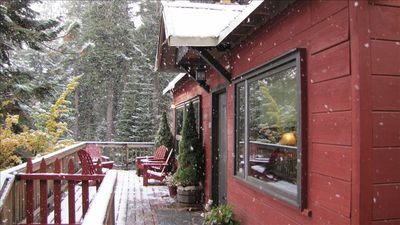 Front deck with first snowfall of the season