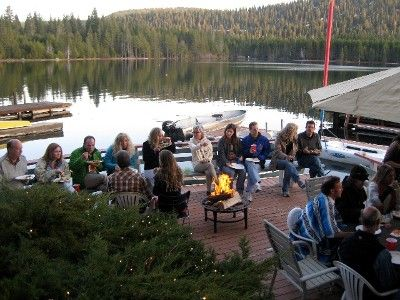 Gathering on lower deck - no fire pit included.