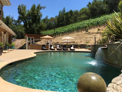 Your own private oasis with large pool, hot tub, outdoor kitchen and vineyard