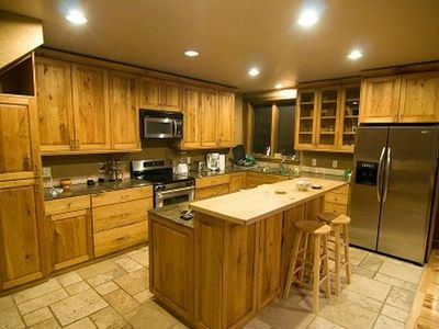 Driggs house rental - Spacious kitchen with custom touches and excellent appliances.