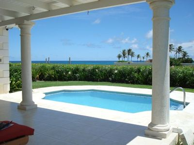 Bottom Bay villa rental - View of Pool & Sea from the Breezy Back Patio