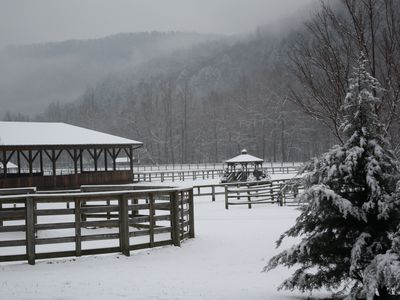 Snow in the Pasture and Riding Area