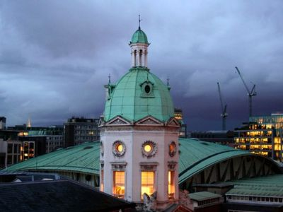 View out of apartment windows, onto Smithfield Market