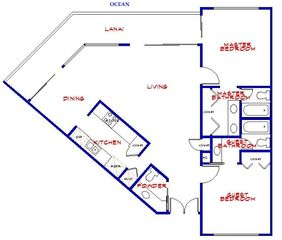 Kahana condo photo - Layout of condo, 1300+ sq. feet inside, and 40 ft. lanai outside