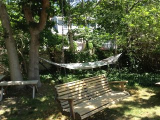 Yarmouth house photo - Double hammock and tree swing chair