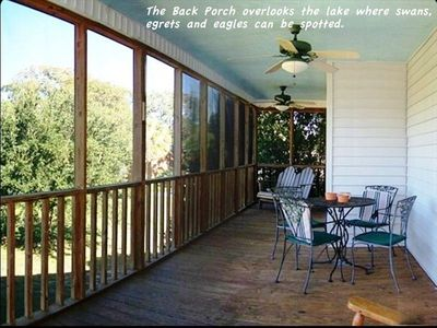 The back porch is a nice cool place in the afternoon for happy hour.