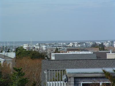 looking west from the roof deck to the bay and fishing fleet