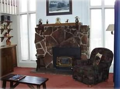 Living room with warm gas fireplace