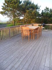 Amagansett cottage photo - Deck looks out to sunset over the bay everynight of summer