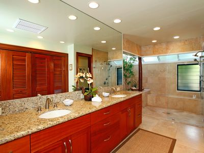 Master bedroom with walk in shower. Large closets