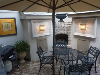 Beautiful private courtyard with gas grill and fireplace