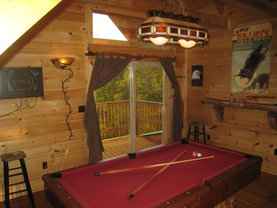 Loft level game room with pool table, HD TV, awesome views