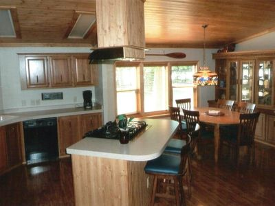 Not a typical cabin kitchen...well lit, spacious, well equipped.