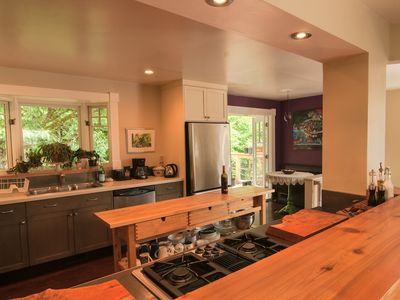 Wide view of kitchen with Breakfast Nook.