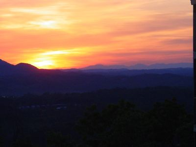 SUNSET OVER DOLLYWOOD FROM LOWER DECK