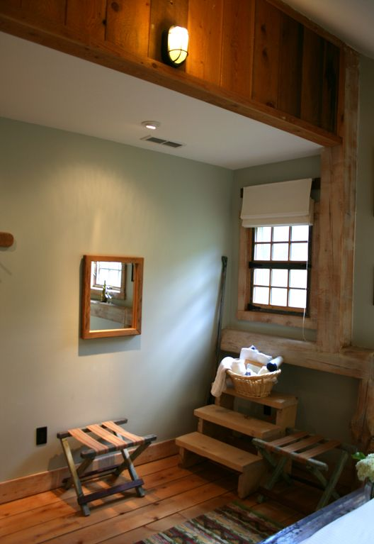 Room 12 (Sparhawk): A post-and-beam room facing the small waterfall.