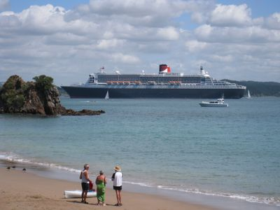 Queen Mary II among visiting cruise ships that anchor close to the house