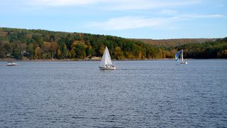 Lake Wallenpaupack house photo - autumn from the dock