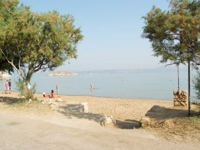 The sandy beach of Almirida 20 meters away