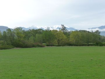 View from porch across 10 acre property toward Olympic Mountains.