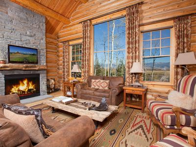 "Teton Village house rental - Great room stone wood burning fireplace & bright 40"" LED TV"