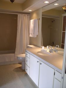 Guest bath has tub and shower & private outdoor shower with a view of the Gulf.