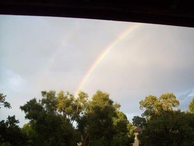 Beautiful Rainbow seen from the deck after a shower passed by in August