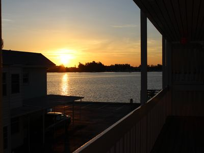 Enjoy the Sunrise over the Bay from outside our front door.