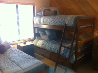 Guest room with 3 twin beds and all new mattresses and linens