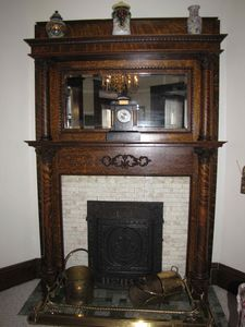 The fireplace in the formal living room.
