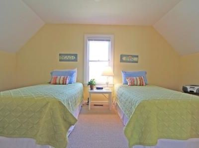 Twin bed room on second floor.  Can be made as king and linens provided.