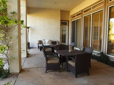 The spacious back patio seats 10 people--