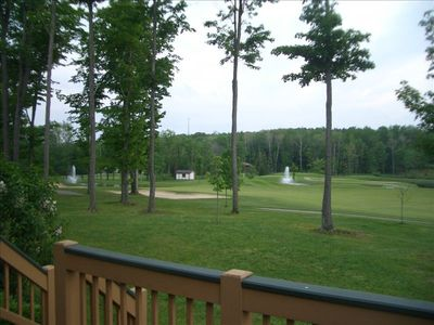 Summer view from back deck overlooking the 9th fairway of the upper golf course