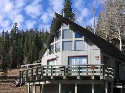 Sunny, private Bear Valley home situated on a beautiful meadow.