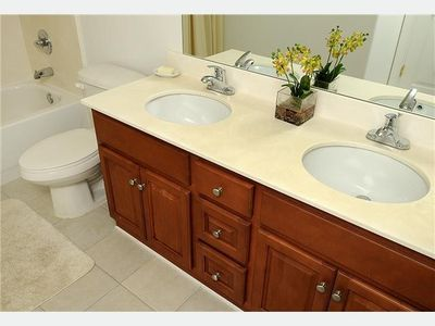 Private Master Bath With Double Bowl Sinks