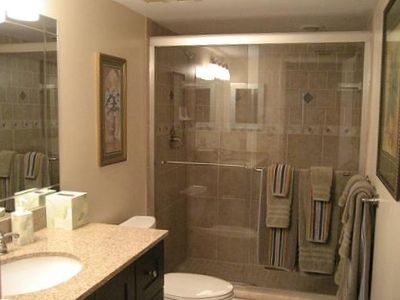 Remodeled bath off the 2nd bedroom with new fixtures, ceramic tile and granite