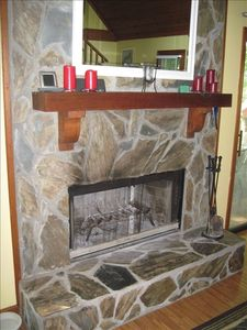 Beautiful stone fireplace.