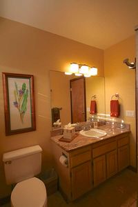 Back master bath - remodeled! Luxurious towels and linens.